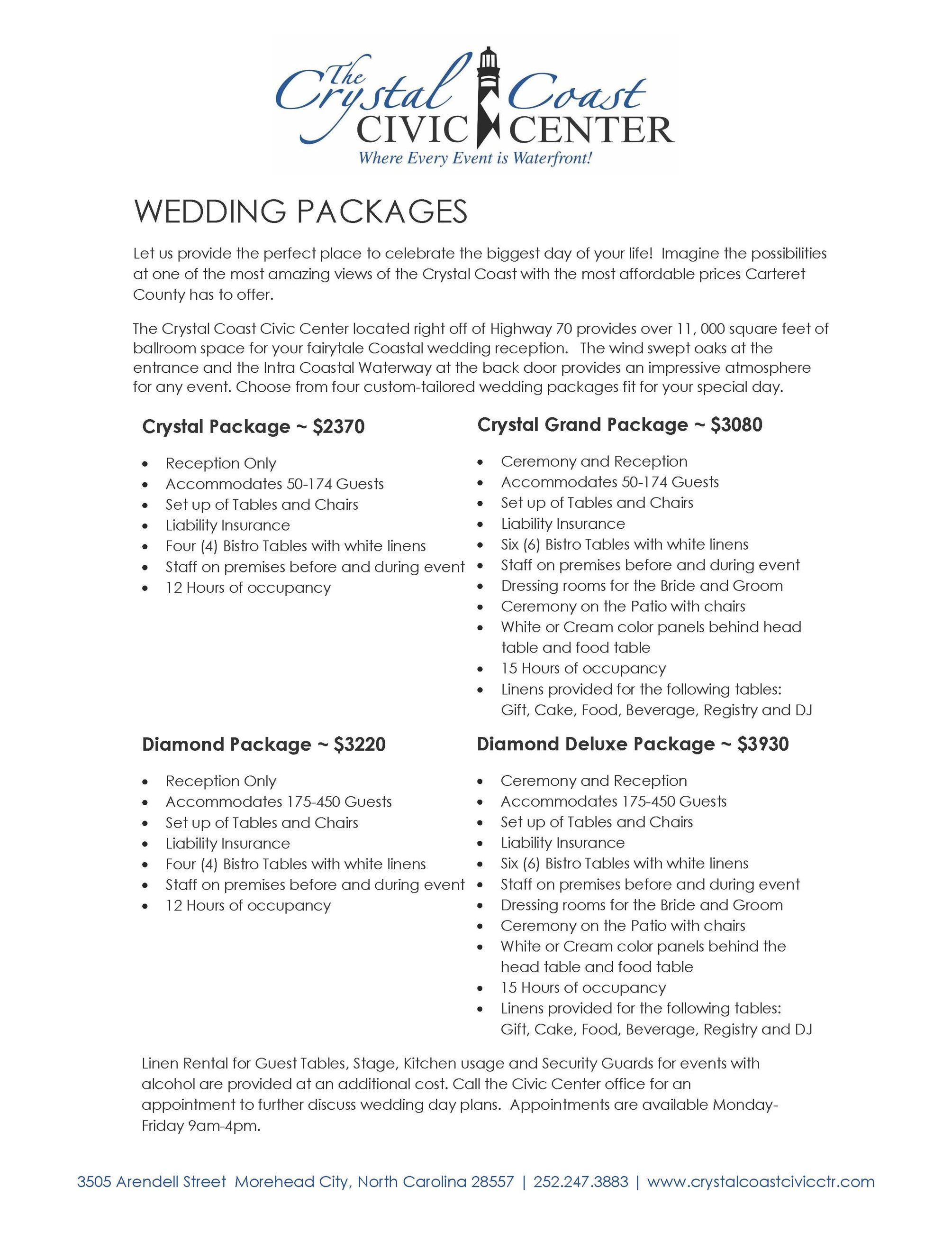 Wedding And Reception Packages Carteret County Nc
