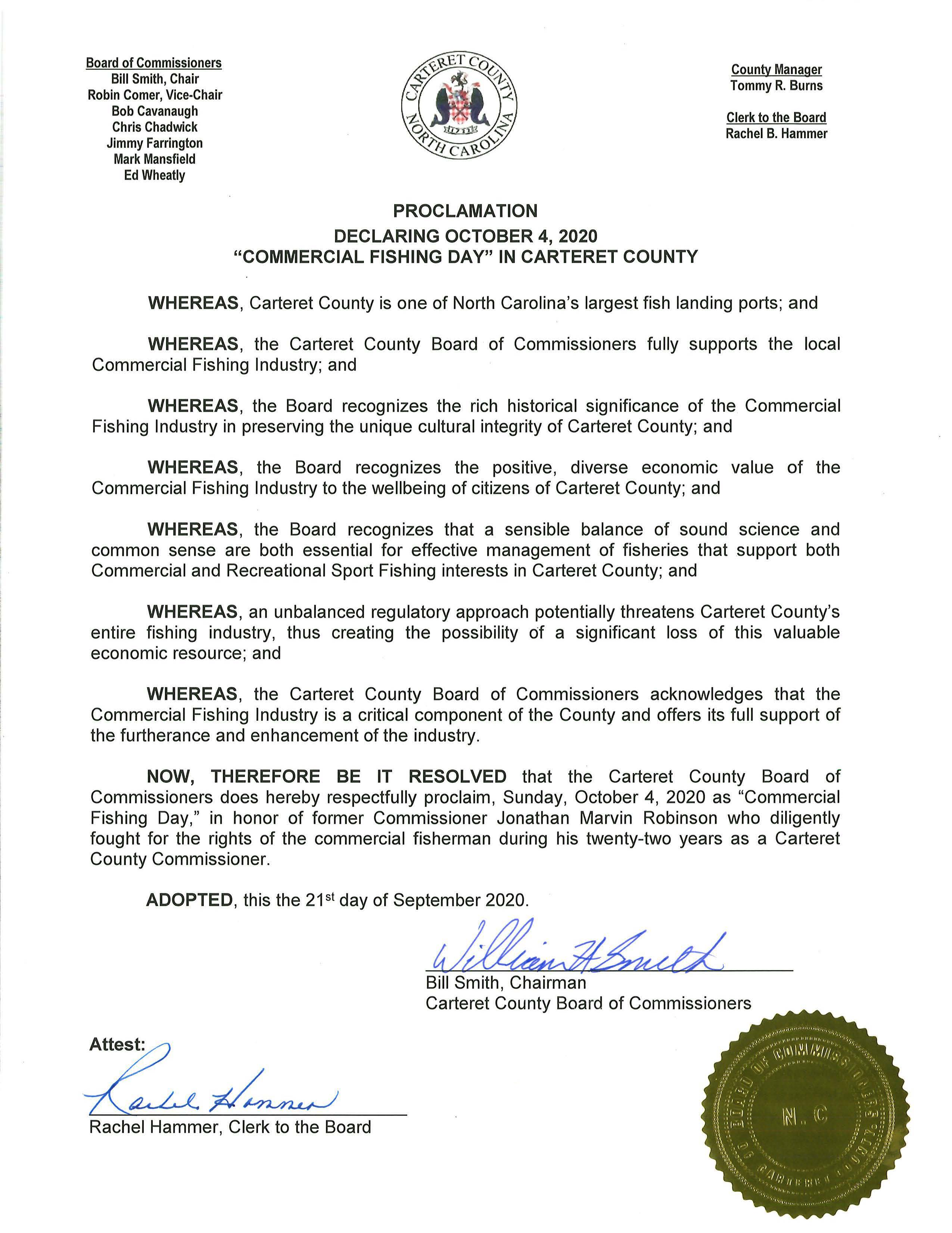 Proclamation.Commercial Fishing Day